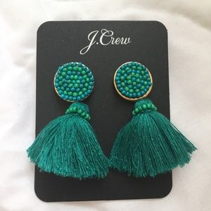 J. Crew Mini Scope Tassel Earrings Green